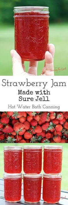 One of my favorite ways to preserve fresh strawberries is to make homemade strawberry jam with sure jell. This is the hot water bath canning method. I use this method because I have more shelf space than freezer space! The canning process is super simple