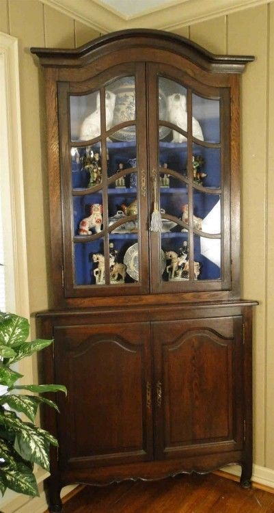 Antique French Country Corner Cabinet China Bookcase Dark Oak Glass Panes Tall #FrenchCountryProvincial #Craftsmenofthatera