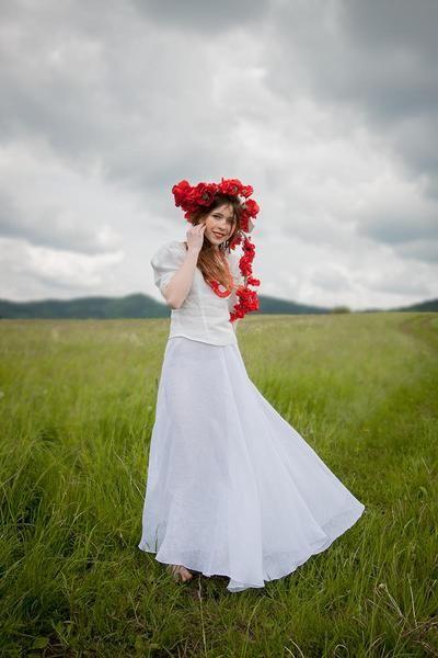 lniana,biała spódnica-folk - Estera-Grabarczyk - Spódnice z koła