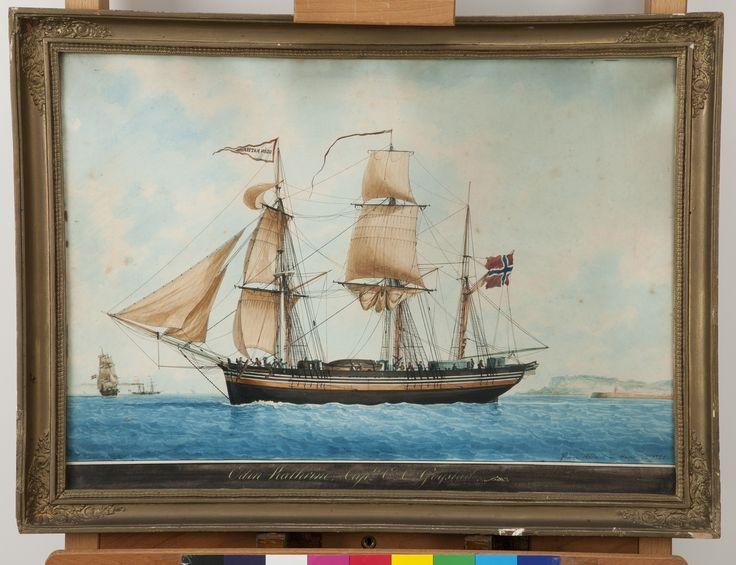 Briggen Odin Kathrin malt av den kjente skutemaleren Frédéric Roux, 1840.