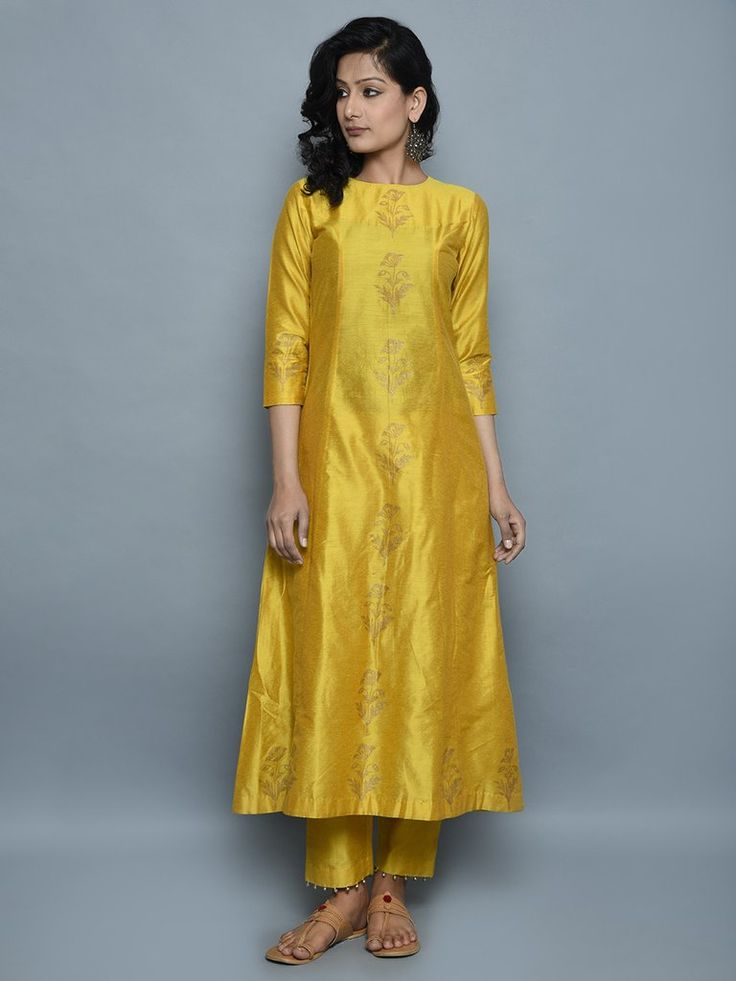 Mustard Cotton Silk Hand Block Printed Kurta