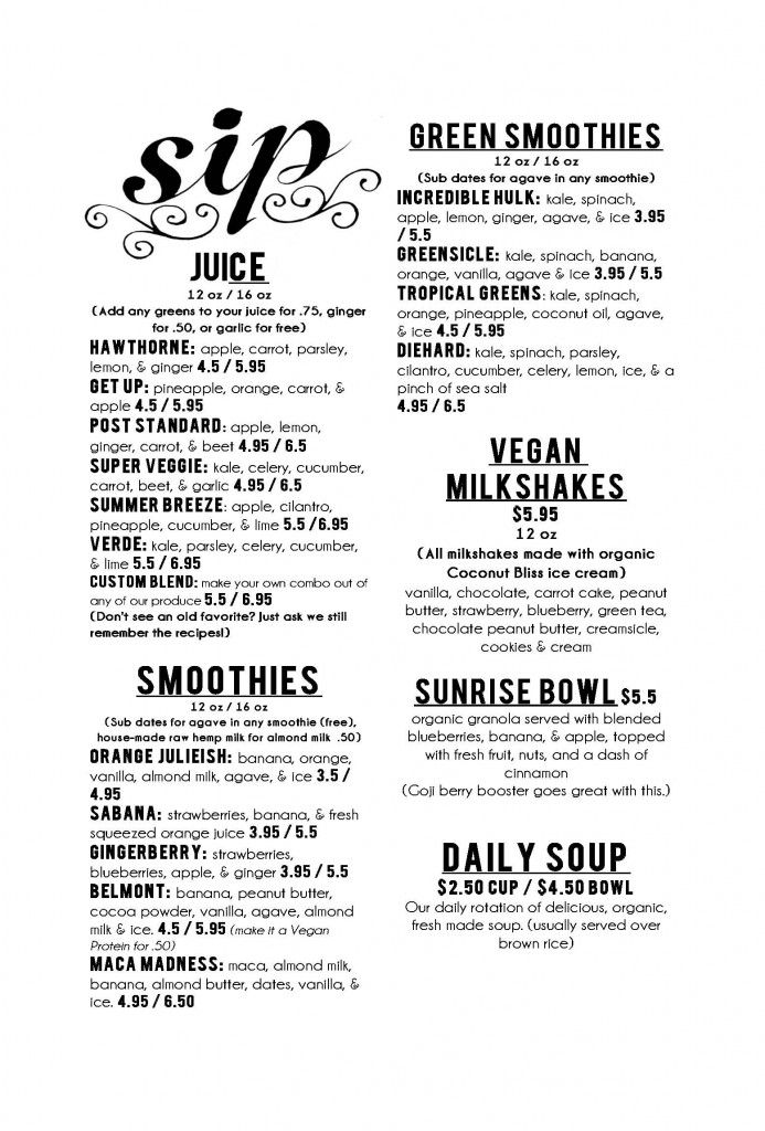 Sip Portland Menu-I love their green smoothies!