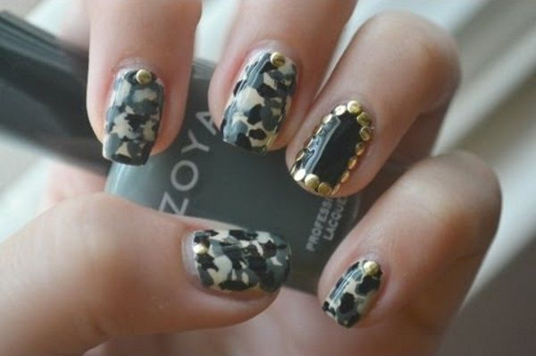 Studded Camouflage Nail Design