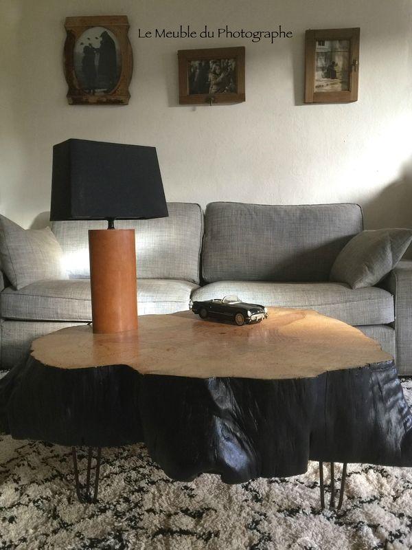 table basse rondin 1m peinte Mobilier Le Meuble du Photographe - vernir un meuble peint
