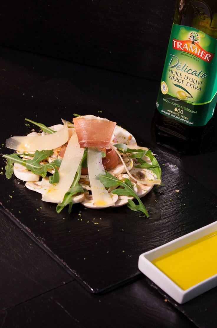 Carpaccio de champignons aux noisettes #recette #carpaccio