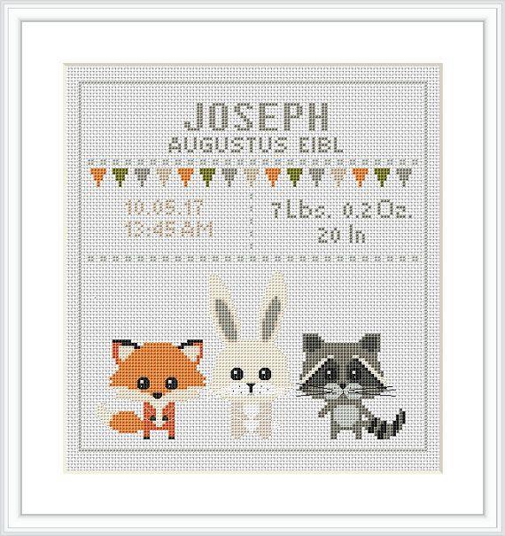 Baby Cross Stitch Pattern fox rabbit racoon Birth sampler