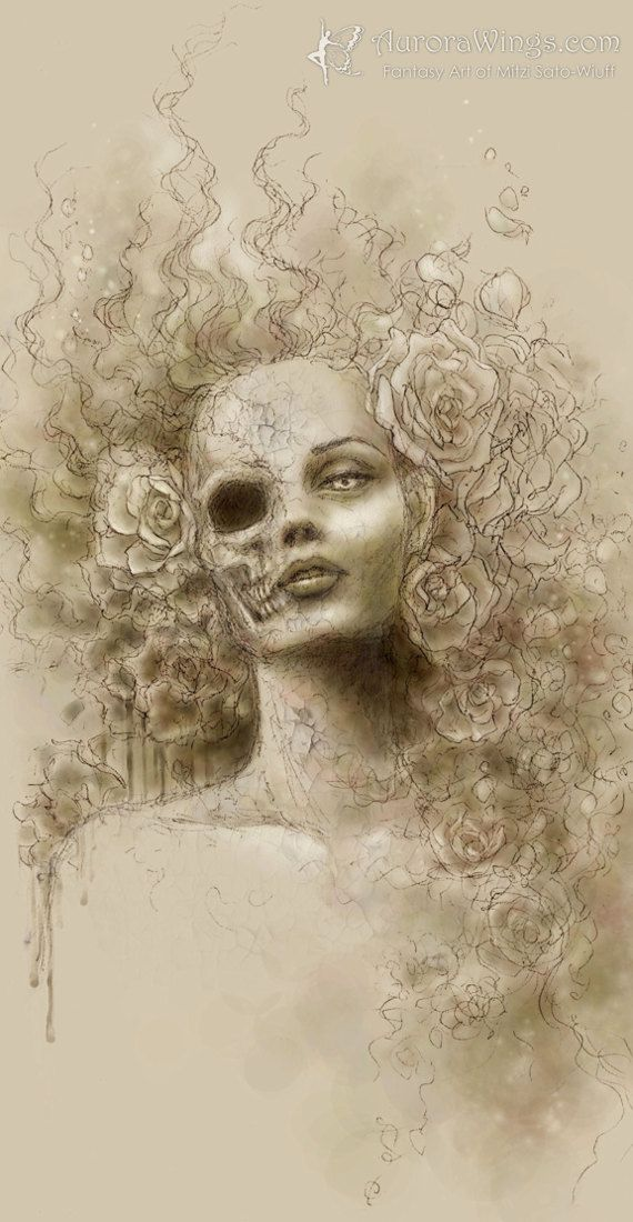 Dark and Macabre Skull Face Beauty Fantasy Art Print - Free Shipping - Oblivion - 4 x 8 Signed Print - by Mitzi Sato-Wiuff on Etsy, $14.95