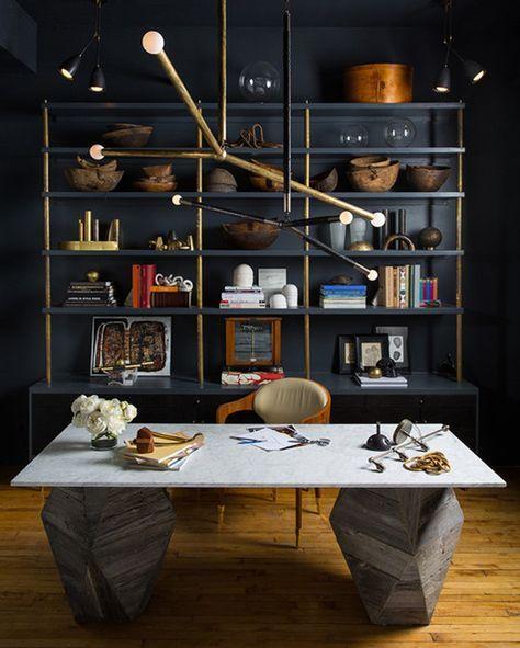 details I like: white slab, dark grey with gold • via Lonny. Masculine Office
