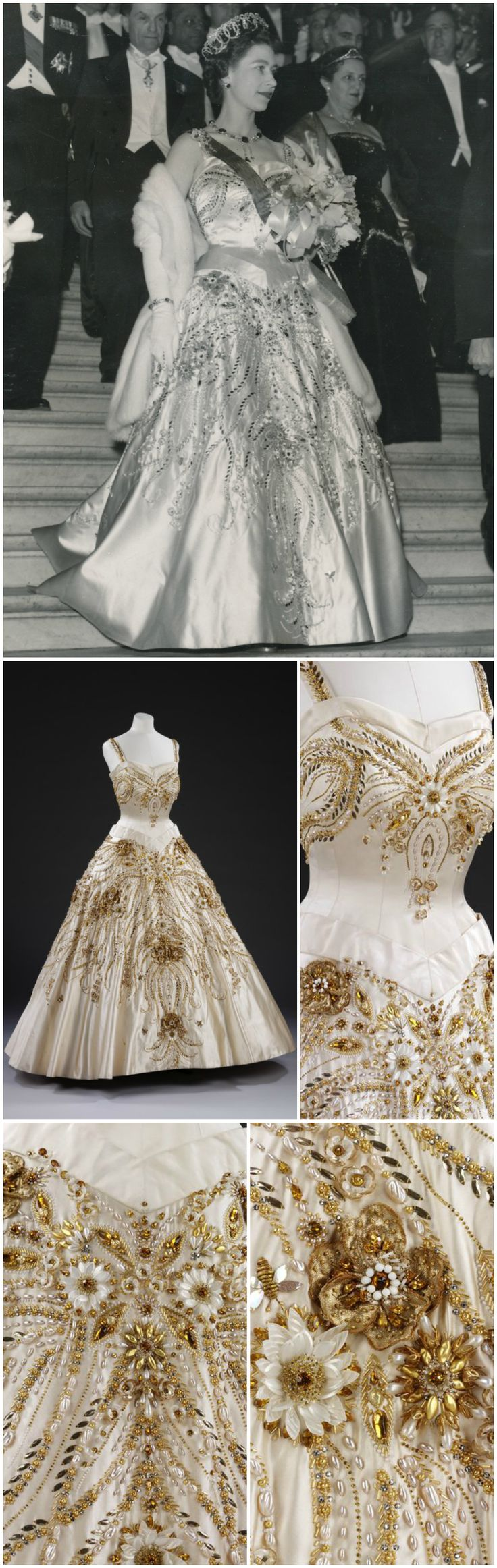 Ceremonial gown, by Norman Hartnell, 1957, at the Victoria and Albert Museum. Designed specially for Queen Elizabeth II's state visit to Paris, April 8-11th, 1957. Decorated with French motifs, including the flowers of France and large gold bees, the emblem of Napoleon. Worn to the state dinner on the first night (Monday 8th April), hosted by President René Coty at the Elysée Palace, followed by a visit to the Opéra (see black-and-white photo, via romanbenedikhanson on Flickr).