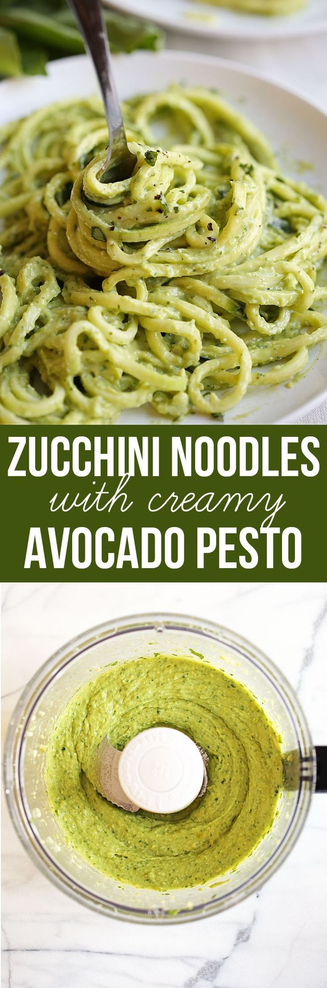 Zucchini Noodles with Creamy Avocado Pesto | Eat Yourself Skinny! | Bloglovin'