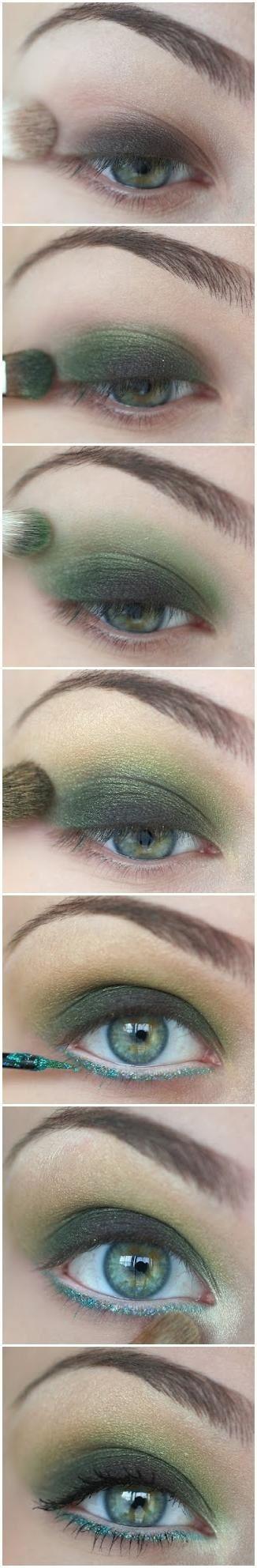 Ojo ahumado con tonos verde