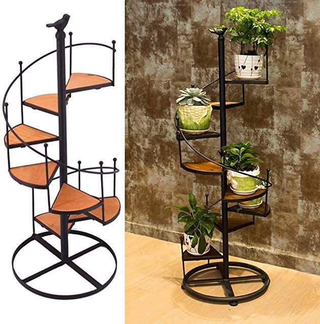 Flower Pot Shelves Black Metal Spiral Staircase Design Display