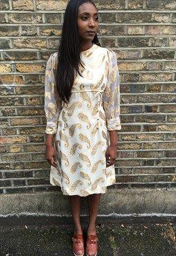 1970's Gold Paisley Print Dress