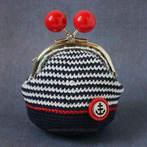 вязаный кошелек с фермуаром, вязаный кошелек на застежке с шариками, кошелек вязаный крючком, кошелек в морском стиле