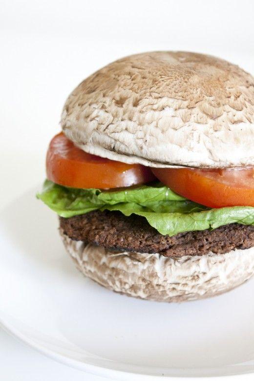 Black Bean Burger: Mushroom Bun, Food, Black Bean Burgers ...