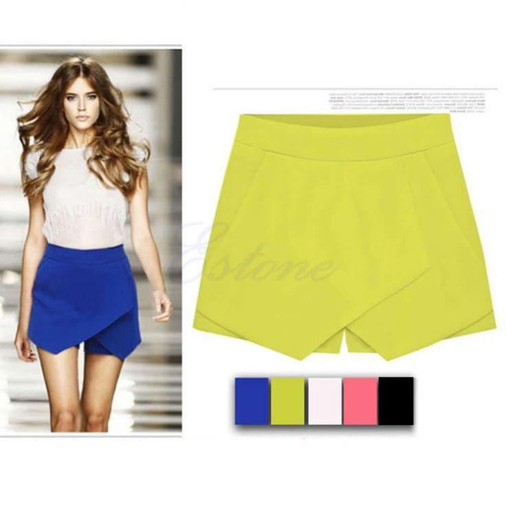 Free Shipping Fashion Women Stylish Casual Wrap Mini Skort Skirt Irregular Laminated Flanging