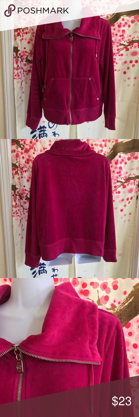 MK velour jacket (binU) GUC Bright pink MK velour jacket size L MICHAEL Michael Kors Jackets & Coats