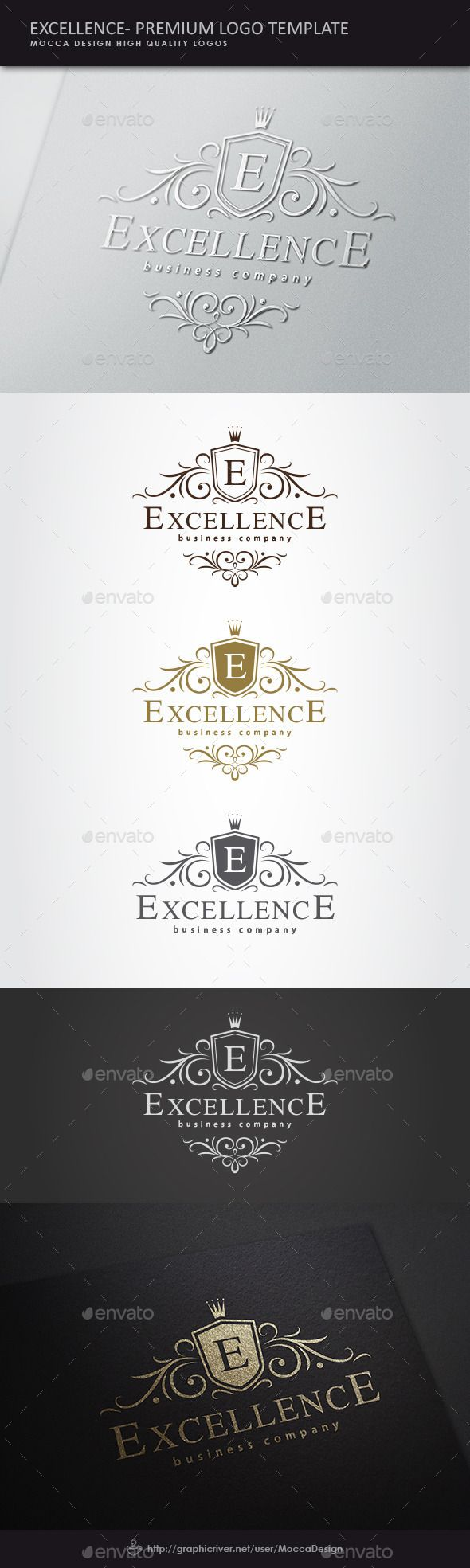 Excellence is a clean and professional logo template suitable for any kind of business or personal identity related to royalty, heraldry as heraldic emblems, wedding accessories, a law firm, deluxe and beauty products, a real estate business, an elegant beauty salon, royal brands, luxury industry like jewelry, premium hotels, fancy restaurants, fashion, perfumes, high quality wines or any other business area.