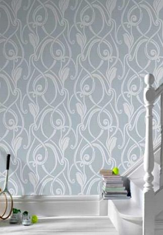 Muse Flock Effect Duck Egg/White is an elegant tulip design utilising large areas of open space combined with a soft swirling flourish. Only $49 per roll from www.wallcandywallpaper.com.au
