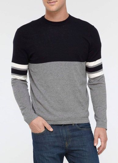 vince dirty cotton engineered stripe sweater $49