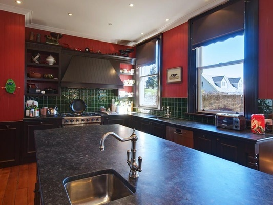 Country kitchen finished in Resene Red Red Red.