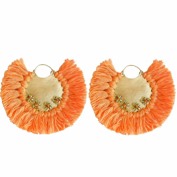 Pavone Earrings Orange | Ricardo Rodriguez Design | Wolf & Badger