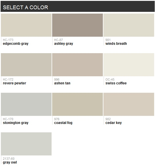 Best-selling grays (Benjamin Moore) - trying to find the best one for our basement