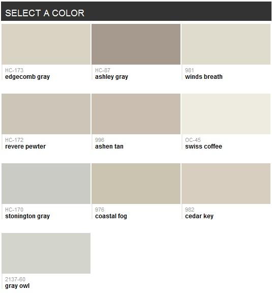 Best-selling grays (Benjamin Moore)
