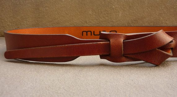 Delgada correa de cuero en Cognac por Muse 1 pulgada por MuseBelts