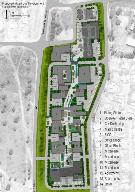 Urban design proposal. RVE. Mixed-use development in Francistown, Botswana