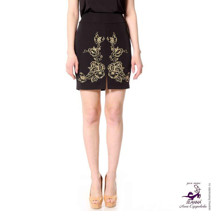 """Купить Эффектная юбка-карандаш """"Золотые Маки"""" вышитая любой длины - юбка карандаш"""