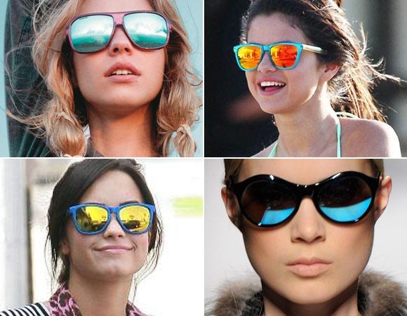 """Óculos espelhados: o modelo polêmico parece que veio mesmo pra ficar! Selena Gomez não desgrudou dele um só minuto nas filmagens de seu novo longa, """"Spring Breakers""""!"""