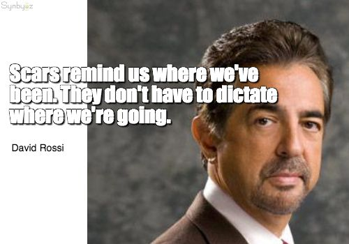 Scars remind us where we've been. They don't have to dictate where we're going. ~ David Rossi