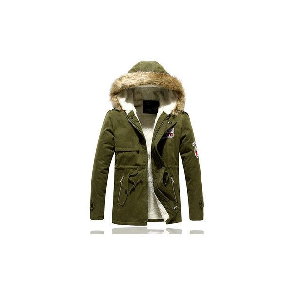 Plus Size Wool Thick Warm Coat ($46) ❤ liked on Polyvore featuring men's fashion, men's clothing, men's outerwear, men's coats, army, mens fur collar coat, mens slim fit wool coat, mens wool outerwear, mens army coat and mens slim fit coat