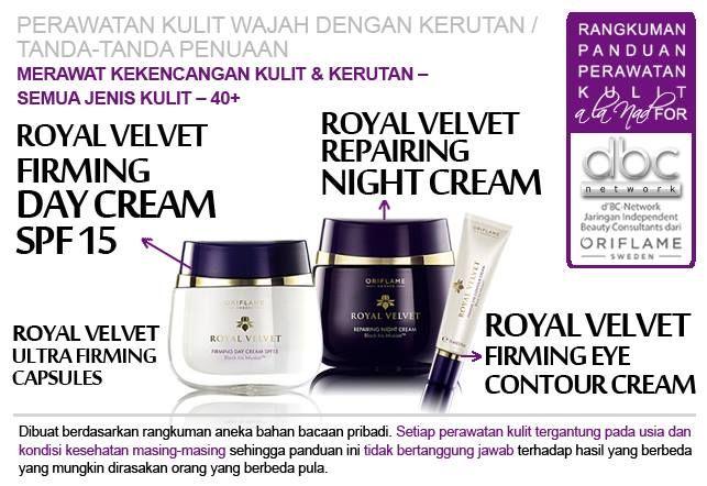 Royal Velvet Firming Day Cream SPF 15 | Royal Velvet Repairing Night Cream | Royal Velvet Firming Eye Contour Cream |  #perawatan #kulit #wajah #kerutan #penuaan  #merawat #kekencangan #semuajenis #kulit #40+ #tipsdBCN #Oriflame