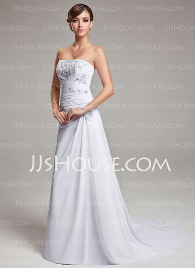 Wedding Dresses - $156.99 - A-Line/Princess Strapless Sweep Train Chiffon Wedding Dress With Ruffle Lace (002004166) http://jjshouse.com/A-Line-Princess-Strapless-Sweep-Train-Chiffon-Wedding-Dress-With-Ruffle-Lace-002004166-g4166