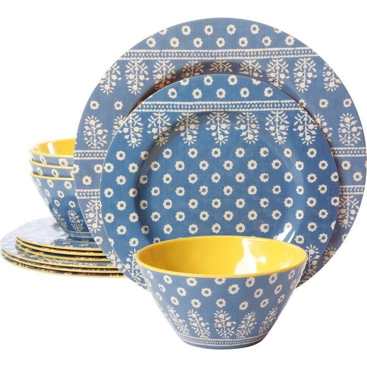 Alannah melamine 12 piece dinnerware set service for 4