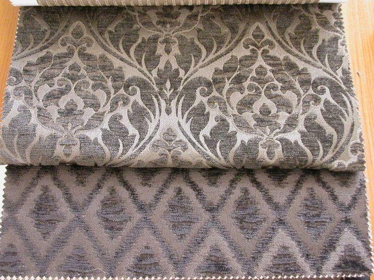 Klasszikus mintájú zsenilia szövésű bútorszövet kollekció, kopásállóság MD 20 000. Szín: barna