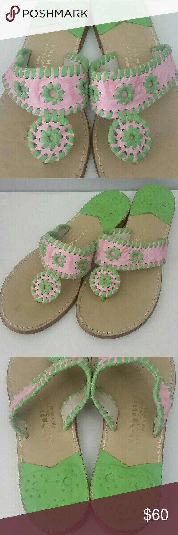 Palm Beach Sandals Size 8.5 GUC...soft pink and green leather. Slight scuff marks on footbed as shown. Broken in (yay!) and still in great condition. I have too many...gotta let a few pair go.   If you like JR, you will LOVE these. The original maker of the Navajo style sandal. Superior quality...no comparison.   Smoke free, Pet free home. Bundle and Save! Palm Beach Shoes Sandals