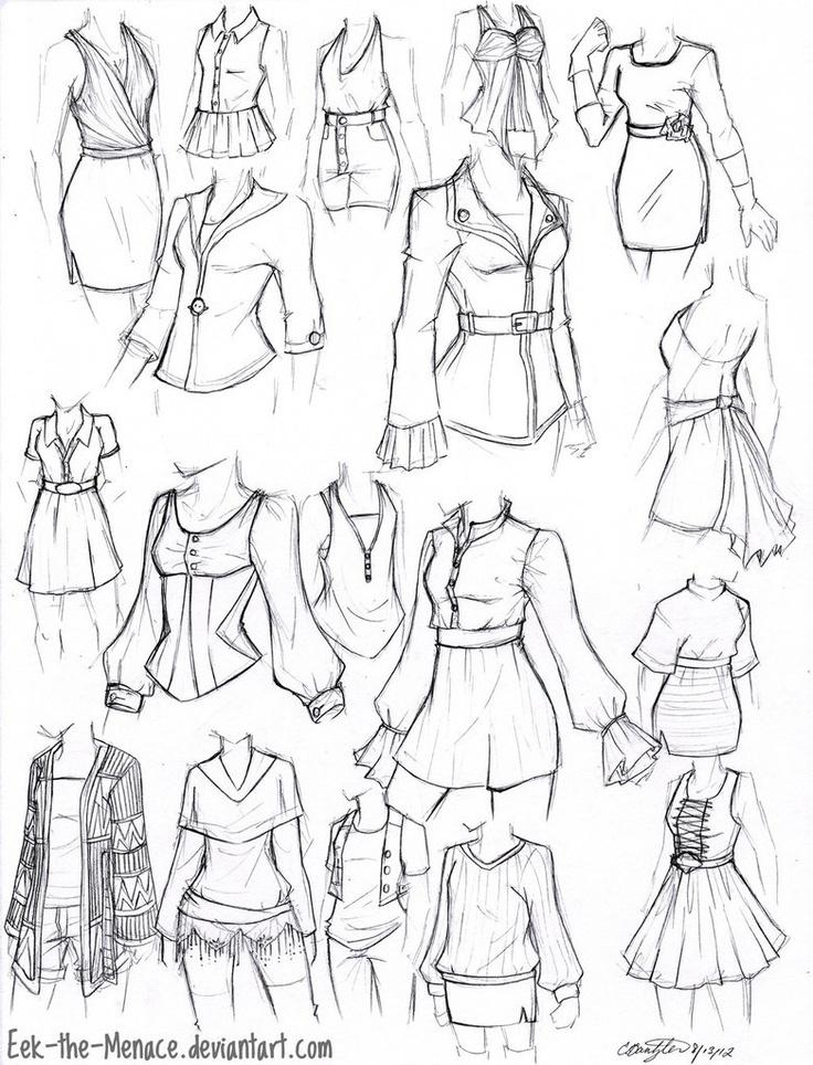 Картинки карандашом как нарисовать одежду