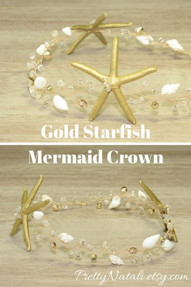 This lovely seashell crown with real hand painted starfishes ( old gold color), real seashells, crystals and rhinestones. Great idea for beach wedding, destination wedding, beach party, music festival, for Mother of Bride, mermaid costume. Beach Bridal Tiara, Wedding Shell Headpiece, Gold Starfish Crystal Crown, SeaShell headband, Mermaid Hair Vine #mermaidhair #beachbride #beachweddingheadpiece #shellcrown
