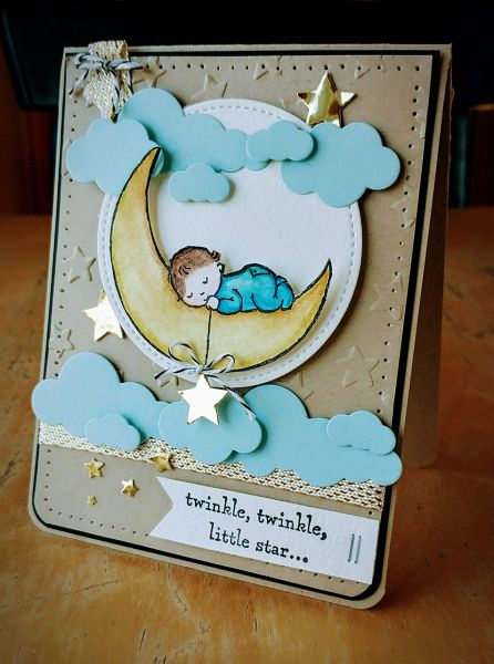 Pretty card (not named) made using the Moon Baby Stamp Set from the Stampin' Up! 2017 Occasions Catalogue.