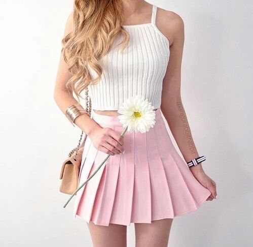 White Top With Pink Ruffle Skirt
