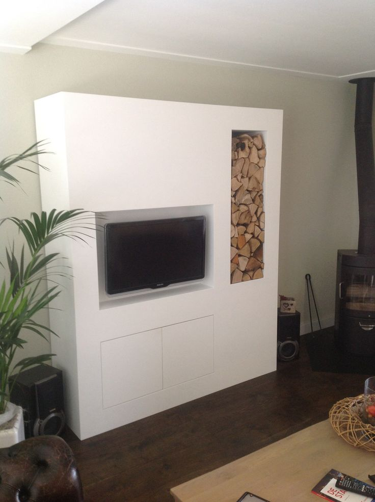 Tv meubel met haardhout