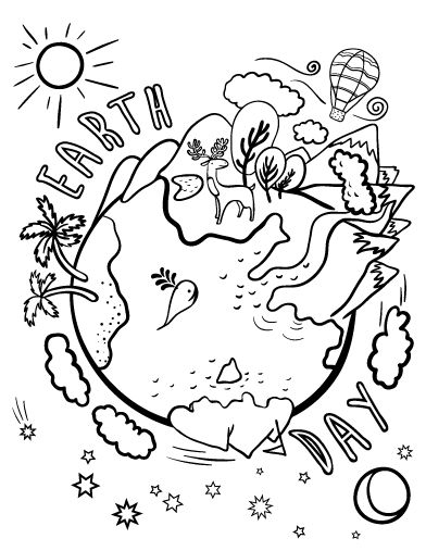 Printable Earth Day coloring page. Free PDF download at http ...