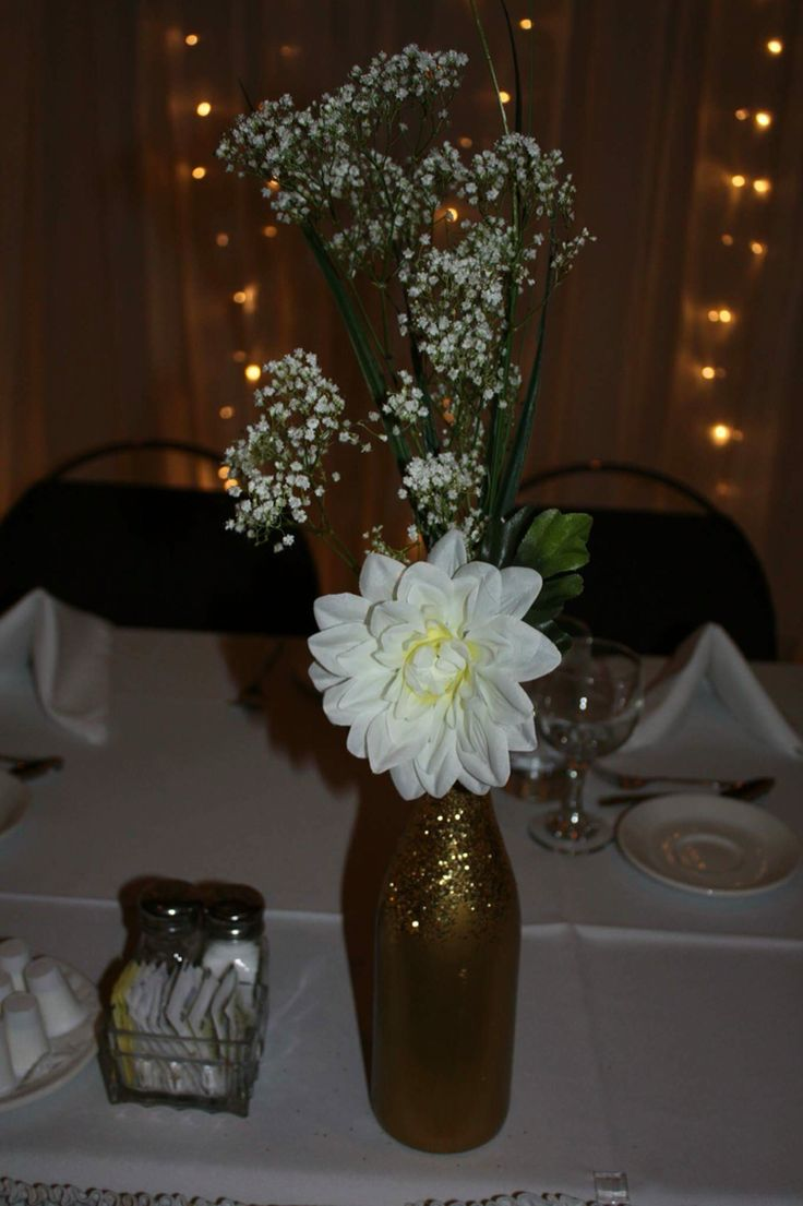 #centerpieces #gold #white