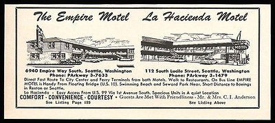 Empire Motel Ad La Hacienda Motel Seattle Washington 1964 Roadside Ad Travel