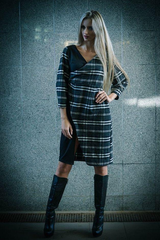 SUKIENKA WEŁNIANA W KRATĘ - JD-JOANNA-DWORAKOWSKA - Sukienki mini
