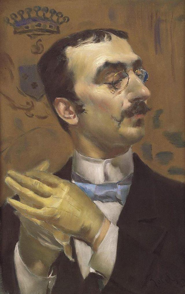 A pastel portrait of Henri de Toulouse-Lautrec by Giovanni Boldini the Italian-French portrait painter.