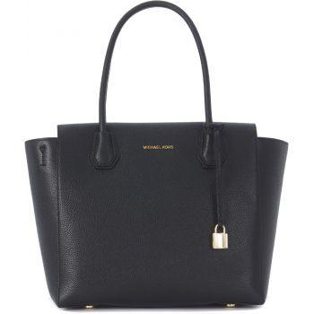 Geanta de mana Michael Kors Mercer Black Tumbled Leather Shoulder Bag Black de culoare neagra de dama